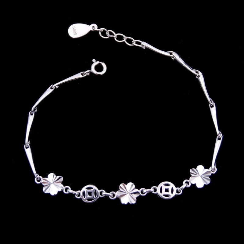 Flowers Design Plain Silver Bracelet Pure 925 Anti Allergic For Gift / Party