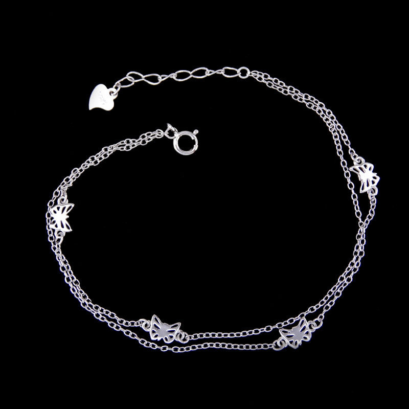 Minimalist Style Chunky Silver Bracelet Double Chains With Four Butterflies
